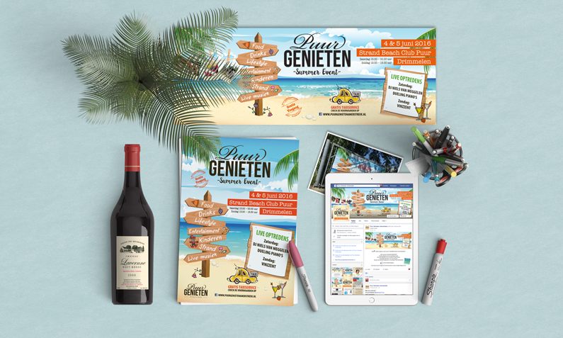 Puur Genieten Summer Event 2016 – flyer, Facebook banner, spandoek