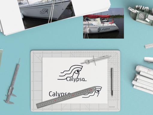 Scheepsbelettering ontwerp beeldmerk en logo Calypso