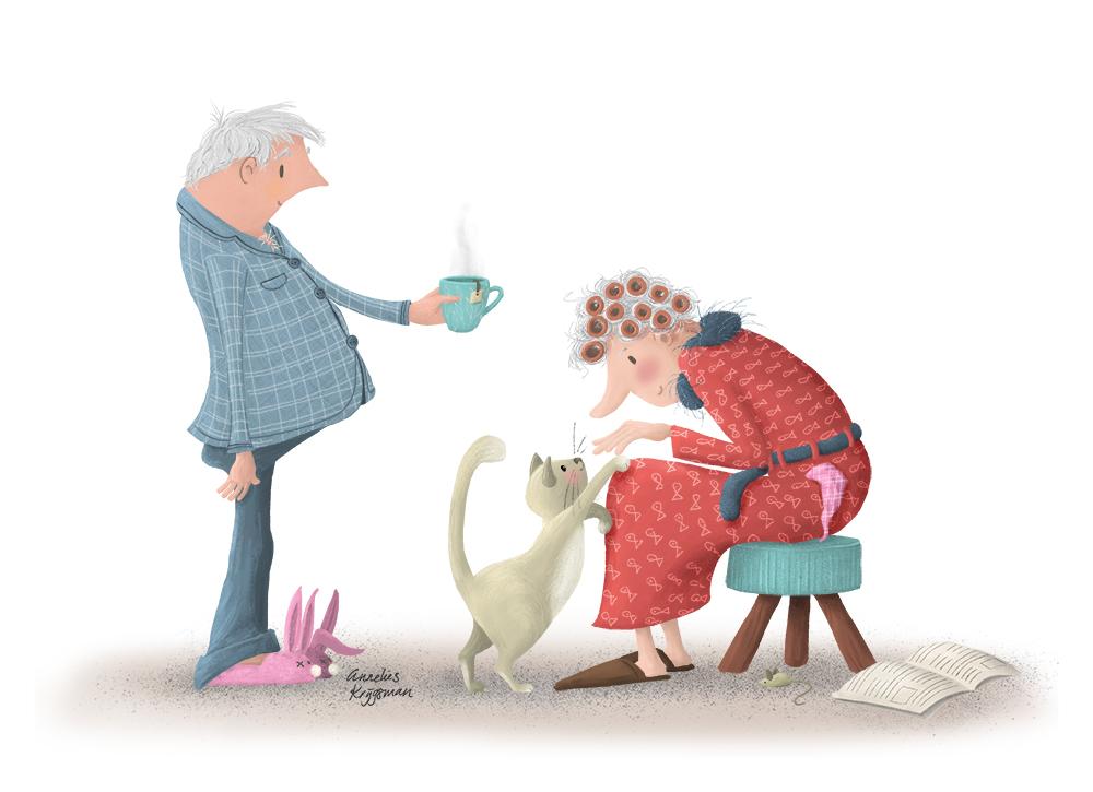 Echtpaar in pyjama - Illustratie AnneliesKrijgsman.nl